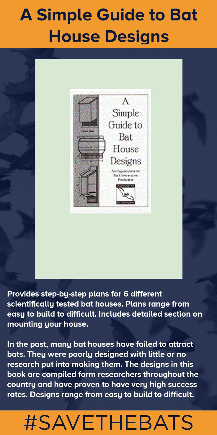 Provides step-by-step plans for 6 different scientifically tested bat houses. Plans range from easy to build to difficult. Includes detailed section on mounting your house. #BatHouse #BatStore #Bats #Conservation #SAVETHEBATS #Guide #Construction #Building