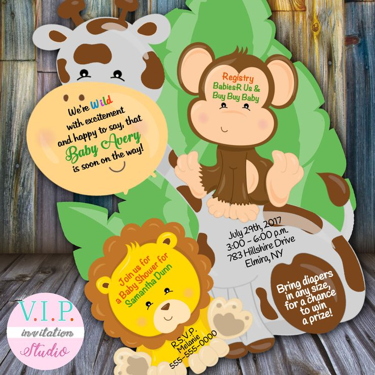 baby shower invitation wording for bringing diapers%0A Jungle baby shower invitation  giraffe Shower invitations  baby shower  invitations  monkey invites