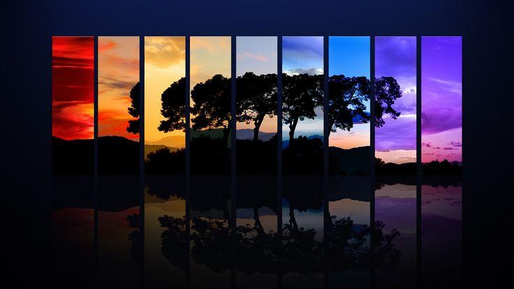 abstract, bomen, kleurrijke