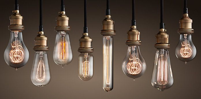 RH offers a large selection of cool light bulbs. You know the kind - they look vintage and industrial, but they're new and found in stylish people's lamps.