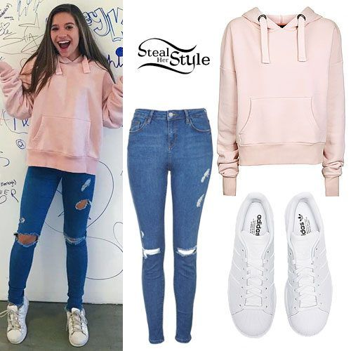 Mackenzie Ziegler visited the Musical.ly headquarters today wearing the Topshop Cropped Hoodie by Boutique (sold out) — similar style ($45.00), Topshop MOTO Blue Rip Jamie Jeans ($75.00, tall sizes only), and Adidas Superstar Sneakers ($79.95) — Kids ($69.99).