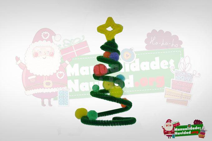 Arbolito navide o con pompones y limpiapipas http - Manualidades con pompones ...