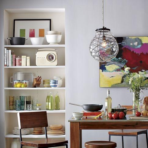 chandelier for the library.: Open Shelves, Glasses Pendants, Lights Fixtures, Kitchens Tables, Blown Glasses, Pendants Lights, Lights Ideas, West Elm, Organizations Blown
