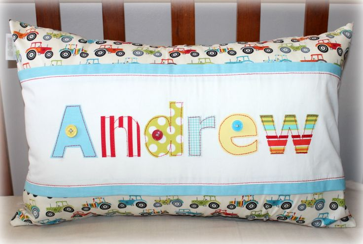 Personalized Name Scatter in colorful tractor theme for little Andrew. Made to order from Tula-tu Baby Linen (South Africa). View more options on website: www.tulatu.co.za