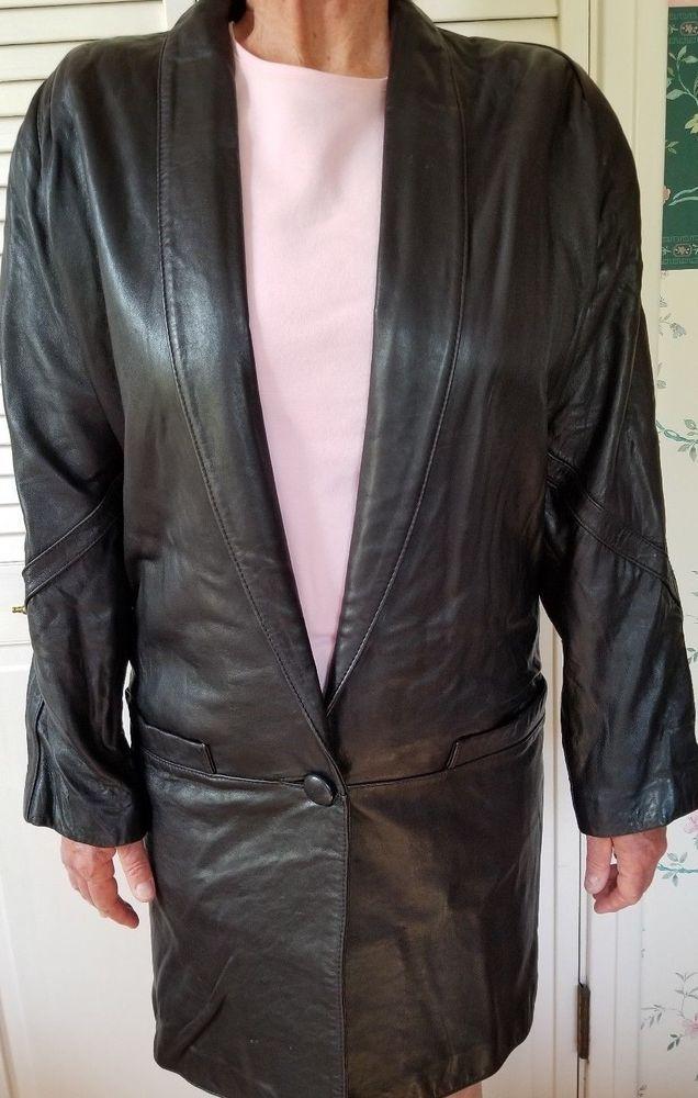 8bc11754d TIBOR Womens Coat Vintage Black Soft Leather Oversized Jacket Shawl Collar  XS #fashion #clothing #shoes #accessories #womensclothing  #coatsjacketsvests ...