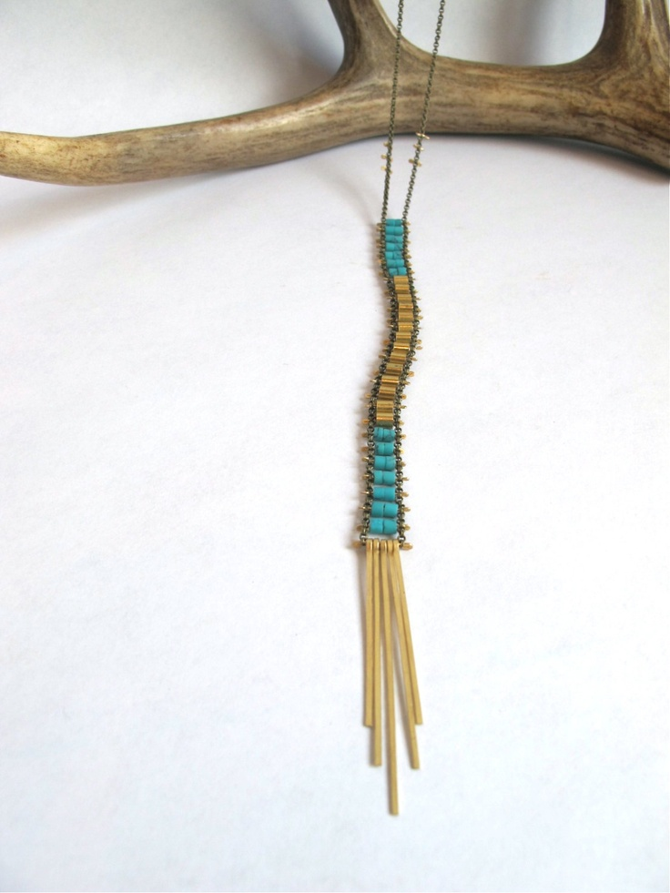 Turquoise and Gold Ladder necklace