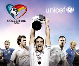 Robbie Williams' England side defend their Soccer Aid crown against the Rest of the World on 8 June.