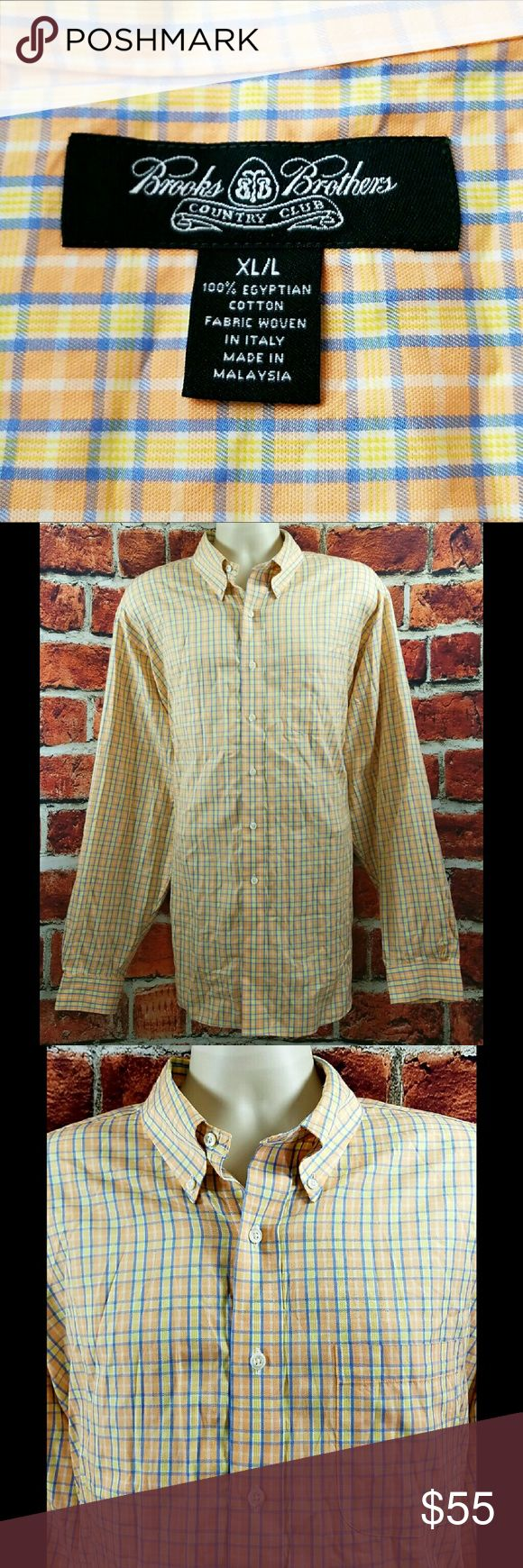 Mens Brooks Brothers Egyptian Cotton Shirt Sz XLT Mens Brooks Brothers Country Club Plaid Egyptian Cotton Casual Shirt Size: XLT  About this item:  Mint to Like New Condition Egyptian Cotton $112.50 at Brooks Bros.  Size: XL/Long(Tall) Across Chest: 27 Length: 34 Sleeve: 27 Brooks Brothers Shirts Casual Button Down Shirts