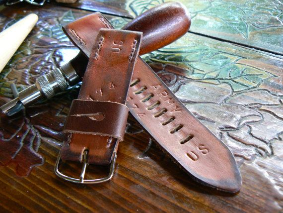 Apple leather watch strap,24mm watch band, hand made panerai strap