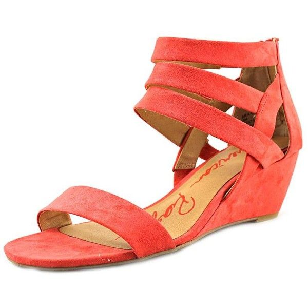 American Rag Casen Women Wedge Sandals ($24) ❤ liked on Polyvore featuring shoes, sandals, orange, orange sandals, american rag cie shoes, orange wedge sandals, wedge heel shoes and orange wedge shoes