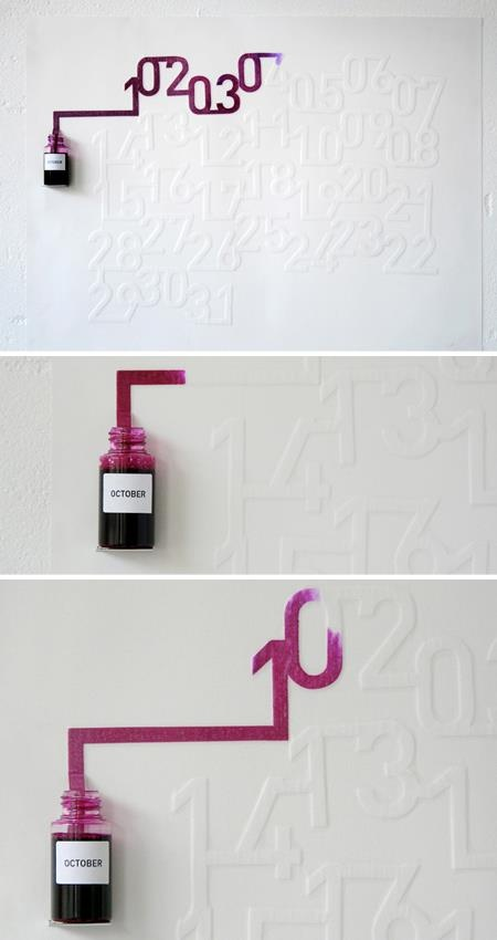 Ink Calendar by Oscar Diaz (concept). Read about it here: http://www.oscar-diaz.net/ink-calendar/#.Upx6zuKCfus