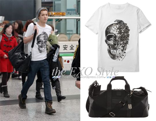 Ivy Skull T-Shirt in White & Canvas Weekend Bag in Black