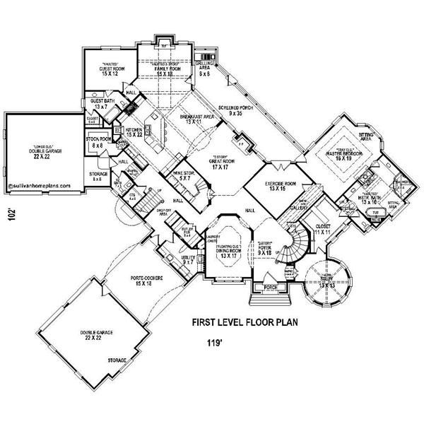 French country house plans with porte cochere floor plan for Porte cochere home plans