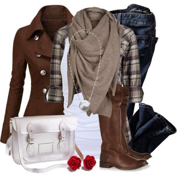 Winter Outfit: Brown Jackets, Fashion, Style, Peas Coats, Clothing, Fall Outfits, Winter Outfits, Plaid Shirts, Brown Boots
