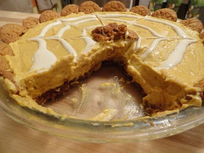 Pumpkin Cream Cheese Pie with Gingersnap Cookie Crust
