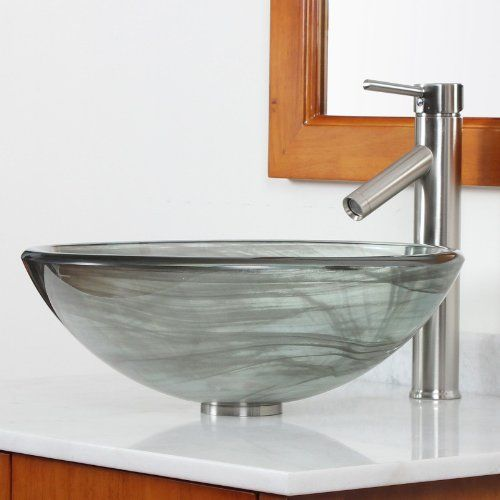 Elite Bathroom Black Swirl Double Layer Glass Vessel Sink Amp Brushed Nickel Faucet Combo Glass Vessel Sinks Sink Bathroom Sink Design