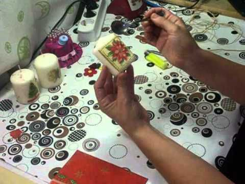 Como decorar una vela con la tecnica del decoupage / Decoupage decorate a candle - YouTube