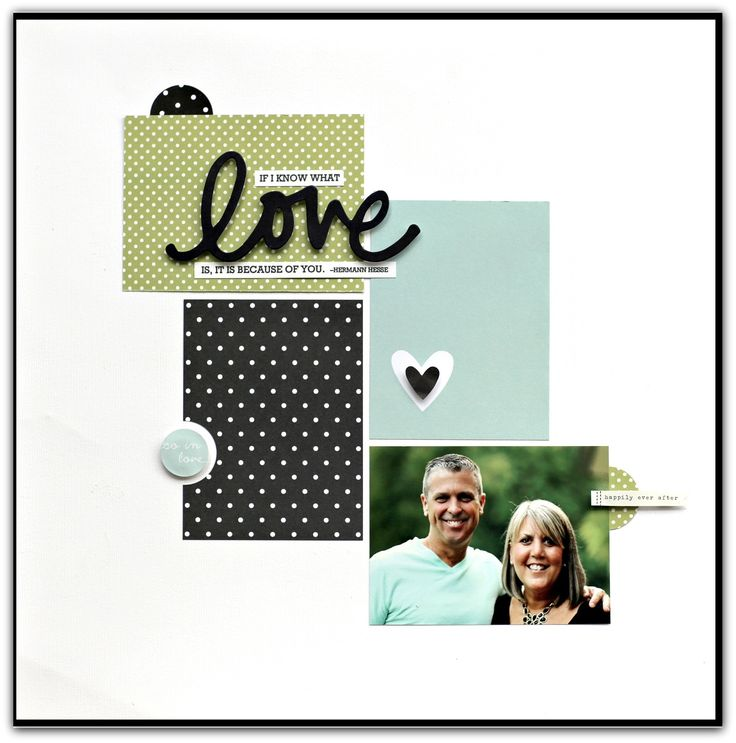 Love - Scrapbook.com - Simple design with a great visual effect. Made with Simple Stories Wedding SN@P supplies.
