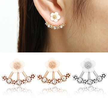Cute Daisy Flower Crystal 925 Silver Needle Ear Stud Earrings For Women at Banggood