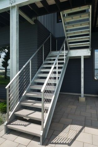 Custom stairway with cable railing | Bauer Custom Welding