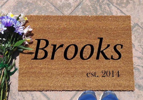 Custom Name And Date Door Mat Coir Doormat Housewarming Gift Wedding Gift Funny Doormat In 2021 Door Mat Coir Doormat House Warming Gifts