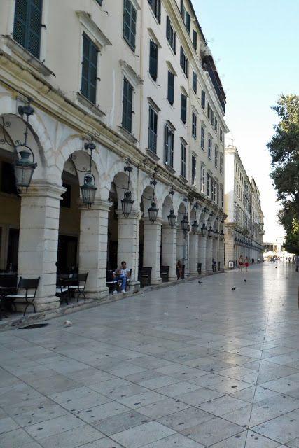 Walking on Esplanada, a marble pedestrian walk in Kerkyra, Corfu