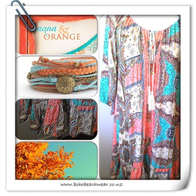 Aqua & Orange Swing dress from www.resortwear.co.nz