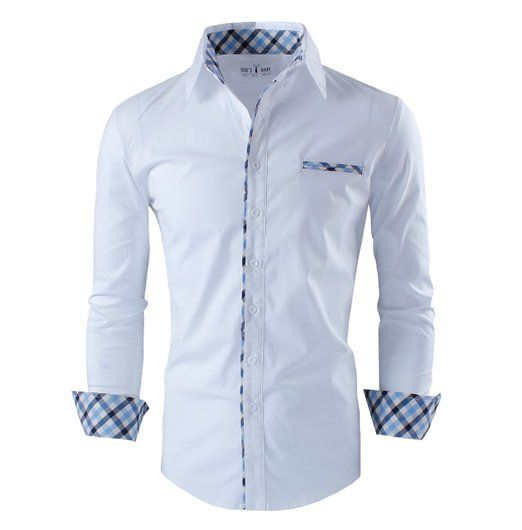 camisa casual blanca con detalles en mangas, cuello, borde bolsillo y borde porta botones. Lineas azule intercaladas
