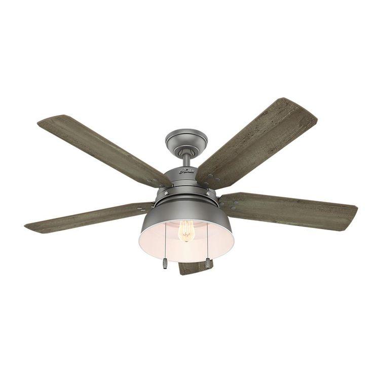 Hunter Mill Valley 52 in. LED Outdoor Matte Silver Ceiling Fan