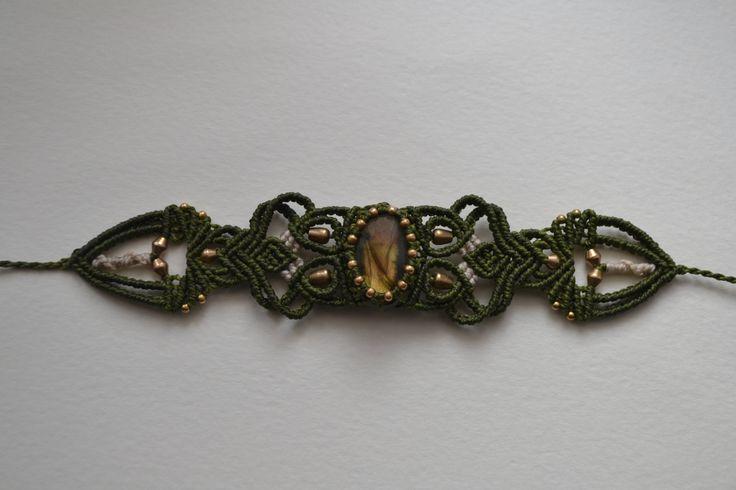 Bracciale Labradorite fatto a mano, made in Italy, bracciale macramè etnico, perline in ottone, boho, gioiello macramè di EthnicMacrame su Etsy