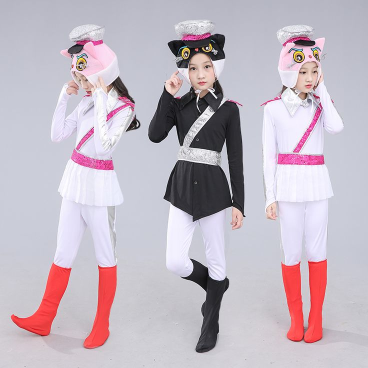 Lovely Cat Costumes For Children Black Cat Police Costume For Kids Animal Cosplay Clothing Game Funny Party Supplies