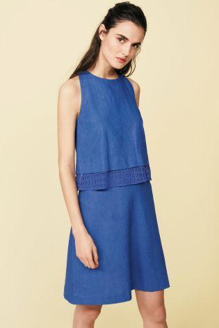 Кобальтовое многоярусное платье из льняной смеси - Покупайте прямо сейчас на сайте Next: Россия