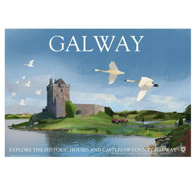A2 (594 x 420mm) Poster of County Galway featuring Dunguaire Castle on the coast at Kinvara Printed 170g/m² art print paper Artist: Roger O'Reilly