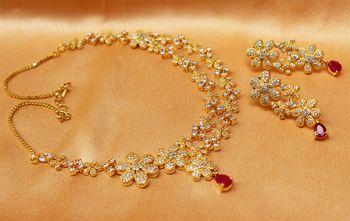 Gorgeous high gold plated Cz  designer necklace set