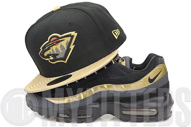 Minnesota Wild Jet Black Metallic Gold Foamposite & Air Max 95 Black Gold Matching New Era Hat
