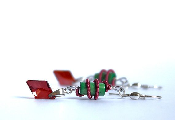 Sterling silver earrings with red Swarovski by YUKIJewellery, €20.50