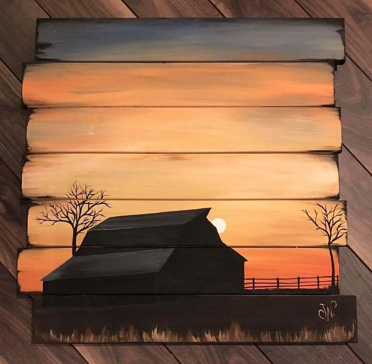 Painting of a barn and sunset on reclaimed wood. So cool! (Kids Wood Crafts Popsicle Sticks)