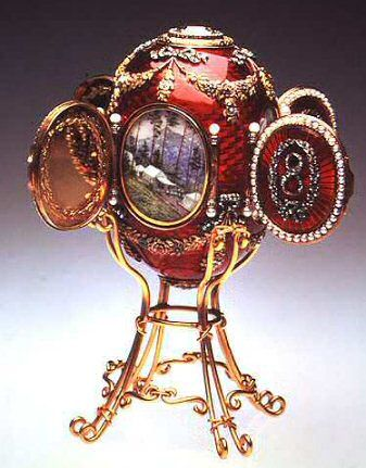 Fabergé. The 1893 Caucasus Egg. This Egg in translucent ruby enamel commemorates the Imperial hunting lodge in Abbas Tuman, high in the Caucasus where Grand Duke George, younger brother of Nicholas II, spent the greater part of hit life after he was diagnosed with tuberculosis. He lived another six years.