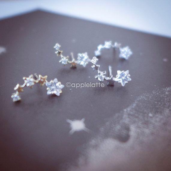galaxy earrings, star earrings, star post, stars studs, stars in the sky by applelatte on Etsy