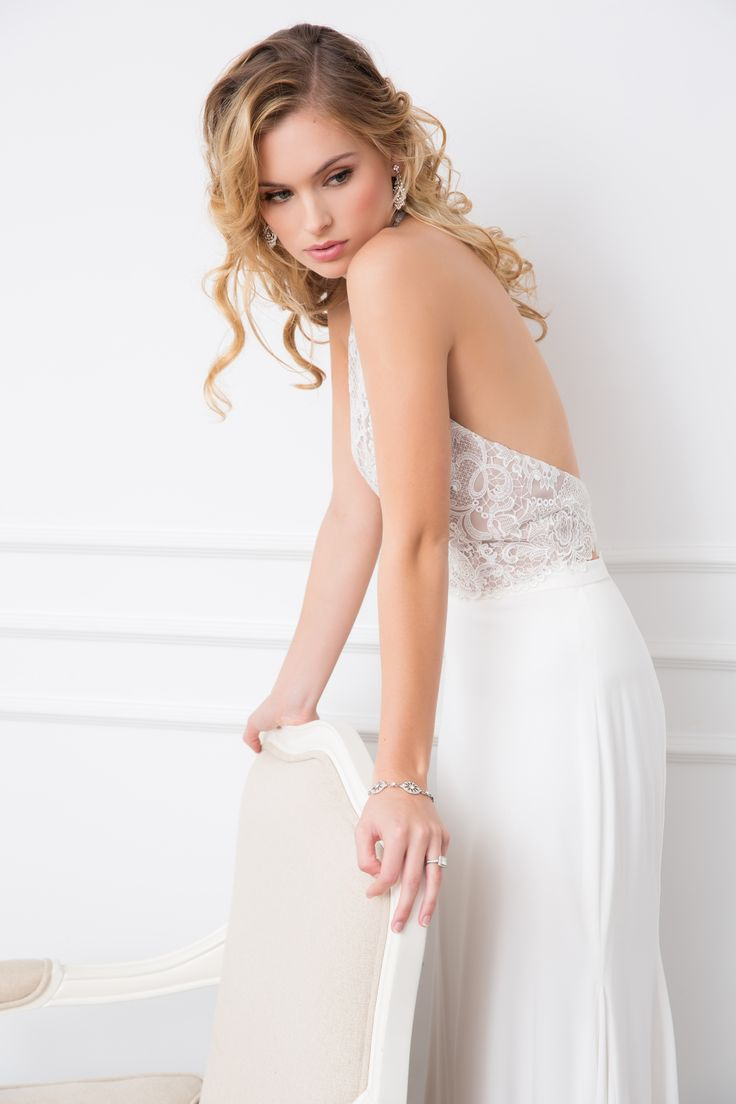 Stefani bodice and Valerie skirt - Wendy Makin Couture.. Halter neck bodice / floaty skirt / flowy skirt / bridal separates.
