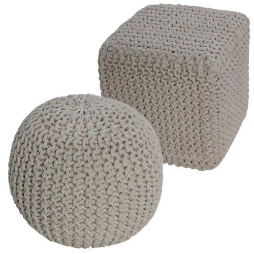 Homescapes Off White Knitted Pouffe Footstool Bean Filled 100% Cotton for Living Room Children or the Elderly---29.99---