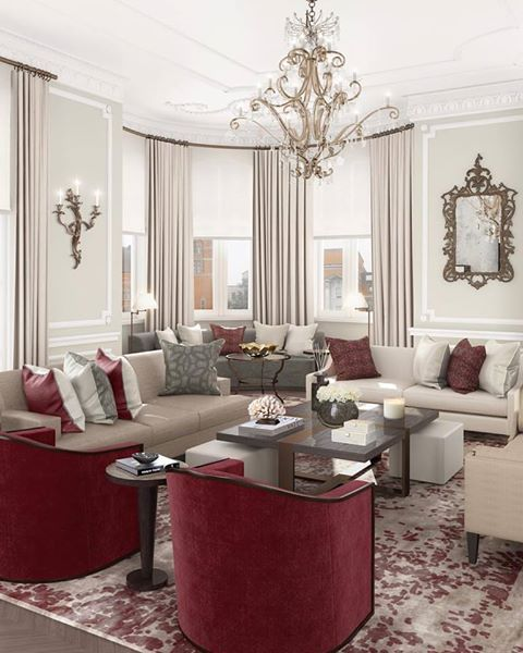 Neutral Colour Scheme For A Living Room With Burgundy Contrast Accents In The Cushions Rug And Arm Chairs Beautiful Off White Curtains Hung From Curved