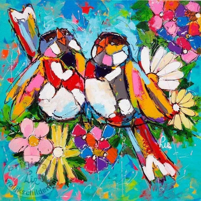Vrolijk Schilderij, dieren, abstract, schilderij, Vogels bloemen