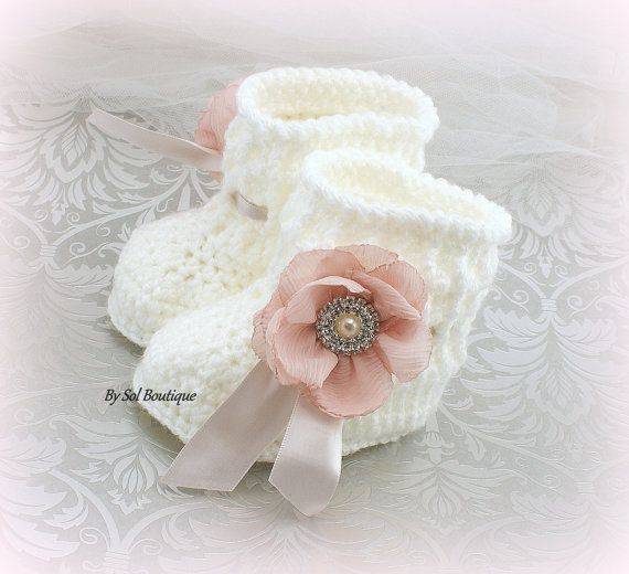 New Born Booties White Pink Baptism Shoes Baby Shoes