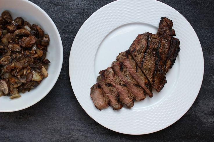 Fire-up the grill for the flavorful combination of grilled strip steaks with mushrooms. Perfect for a summer BBQ, weeknight meal, or date-night at home.
