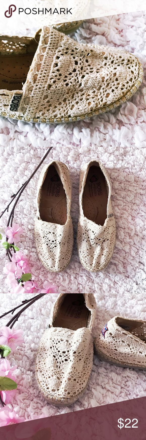 BOBS crochet flats☀️ Spring is in the air & so should these BOBS crochet flats!☀️bottom sole wear some mild insole wear! Pair with high waisted shorts & crochet crop top✔️(as seen in photos ~not for sale) Offers welcomeno trades thank you Skechers Shoes Flats & Loafers