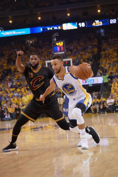 NBA Finals Golden State Warriors Stephen Curry in action vs Cleveland Cavaliers Tristan Thompson at Oracle Arena Game 5 Oakland CA CREDIT John W...