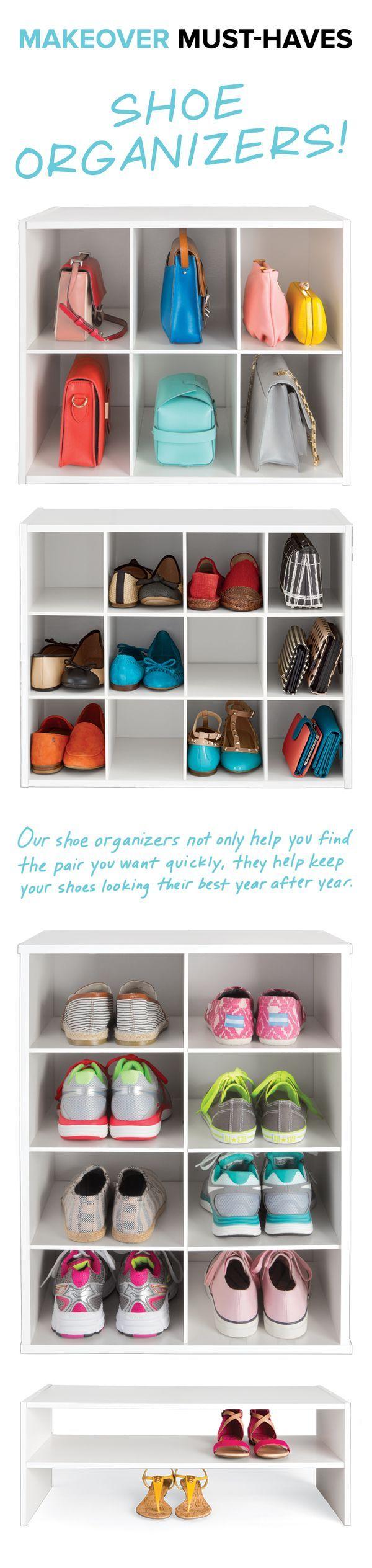 Shoes. Shoes. Shoes. No matter how many pair you have, protect them with our Shoe Organizers. They can be used on the floor or up on a shelf.