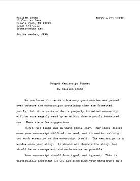 Proper Manuscript Format