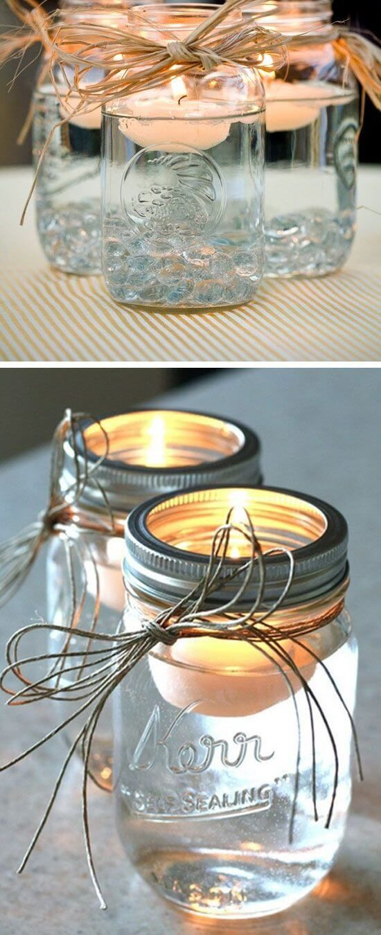 Schwimmende Kerzen Deko mit Naturschnur (Mix Greens Decor)
